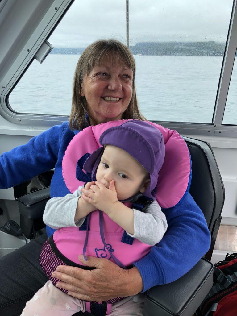 Eileen and Grandma Shivas on the boat