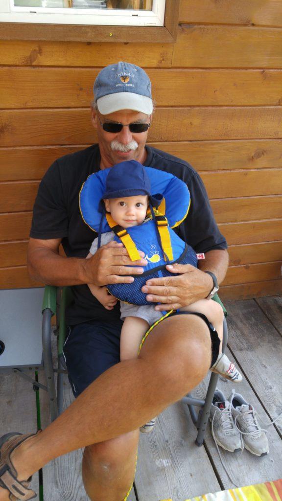 Ewan and Grandpa Shivas on the float