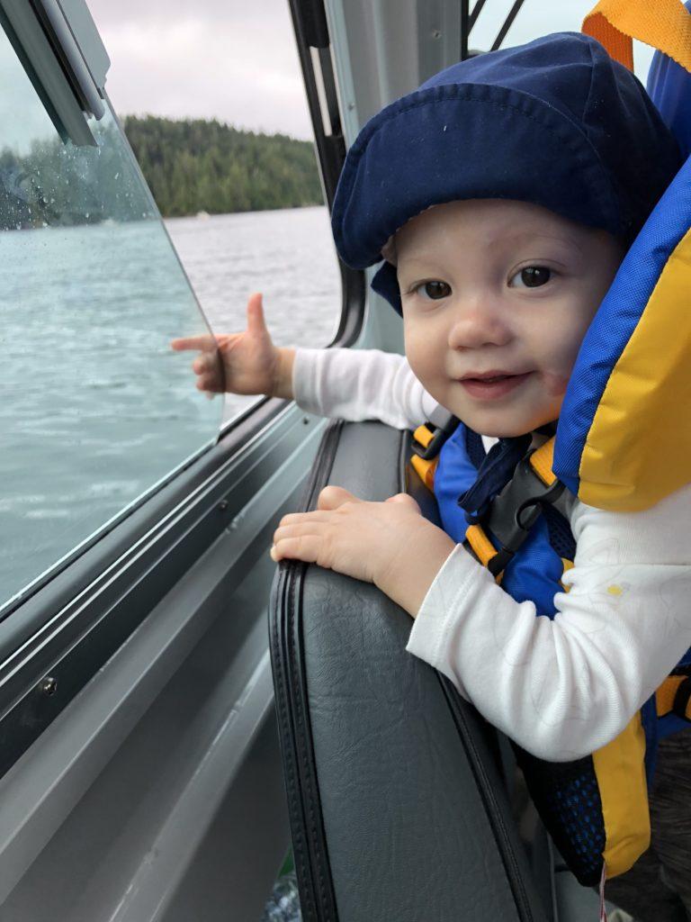 Ewan on the boat
